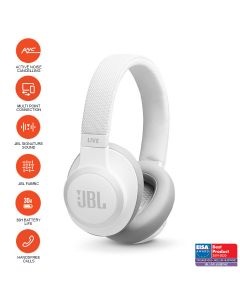 JBL LIVE 650BTNC Wireless Over-Ear Noise-Cancelling Headphones - White