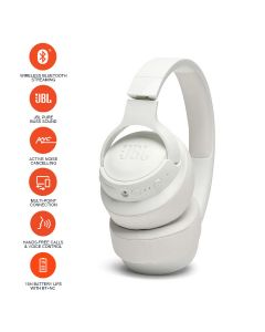 JBL T750BTNC Over-Ear Active Noise Cancelling Wireless Headphone - White