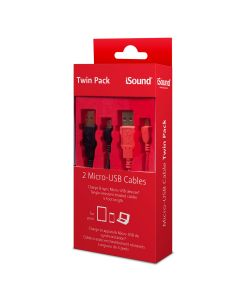 iSound ISOUND-6773 Micro-USB Cable Twin Pack - Red/Black