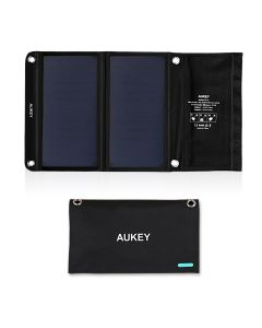 AUKEY Universal 14W Solar Charger with 2 USB Ports and SunPower Solar Panels