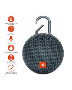 JBL Clip 3 Bluetooth Portable Speaker - Blue