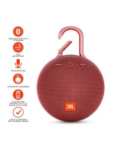 JBL Clip 3 Bluetooth Portable Speaker - Red