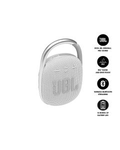 JBL CLIP 4 Ultra-Portable Waterproof Bluetooth Speaker - White
