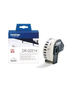Brother DK-22214 Continuous Paper Label Roll 12mm Wide - Black on White