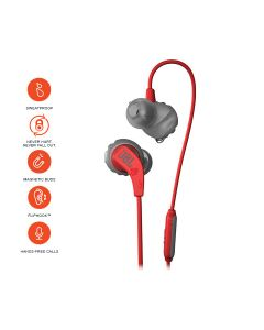 JBL Endurance Run Sweat-Proof Sports in-Ear Headphones with One-Button Remote and Microphone - Red
