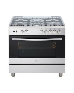 LG FA415RMA 90x60 5 Burner Full Gas Cooking Range Full Safety Stainless Steel Finish with Heavy Duty Cast Iron Trivet With Rotisserie