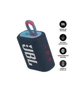 JBL GO 3 Bluetooth Portable Speaker - Blue & Pink