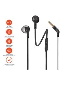 JBL T205 Pure Bass Metal Earbud Headphones with Mic - Black