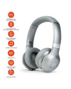 JBL Everest V310BT On-Ear Bluetooth Noise-canceling Headphones - Silver