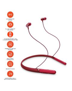 JBL Live 200 BT Wireless in-Ear Neckband Headphones with Three-Button Remote and Microphone - Red