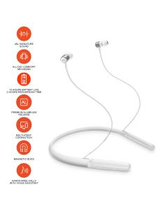 JBL Live 200 BT Wireless in-Ear Neckband Headphones with Three-Button Remote and Microphone - White