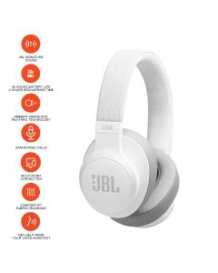 JBL Live 500BT Wireless Over-Ear Headphones - White