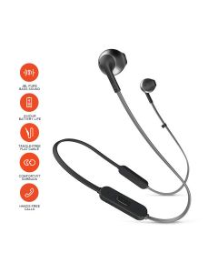 JBL T205BT Pure Bass Wireless Metal Earbud Headphones with Mic - Black
