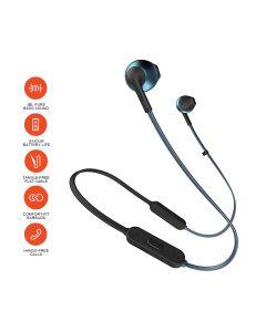 JBL T205BT Pure Bass Wireless Metal Earbud Headphones with Mic - Blue