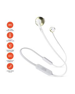 JBL T205BT Pure Bass Wireless Metal Earbud Headphones with Mic - Gold