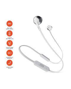 JBL T205BT Pure Bass Wireless Metal Earbud Headphones with Mic - Silver