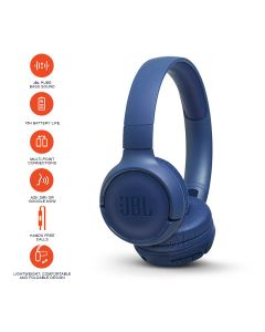JBL Tune 500BT Powerful Bass Wireless On-Ear Headphones with Mic - Blue
